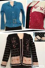 Ladies Cardigan Sweater Jumper Red black Blue Winter Warm V neck Cable Knit  16