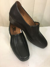 Spring Step Bailey Black/Brown Leather Stitched Low Wedge Size 36,40 (US 6,9)