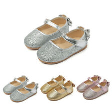 Girls Baby Toddler Princess Bowknot Sequin Dress Flats Mary Jane Shoes 3 Colors