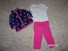 NWT Carters Baby Girls 3 Piece Outfit Sizes 6M and 9M