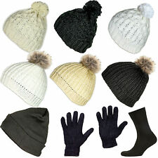 Women Winter Beanie Hat Wool Knitted Ladies Fashion Fur Pom Pom & Thermal Gloves