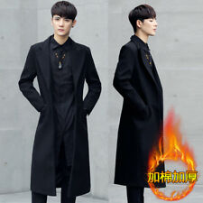 men's stylish long slim trench coat jacket thicken woolen parka windcoat outwear