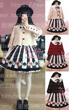 Sweet Lolita Harajuku Poker Prints Short Coat Jacket Gothic Bust Skirt Cute#S533