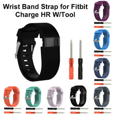 Silicone Wristband Watch Band Strap Replacement w/Tool Kits For Fitbit Charge HR