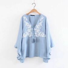 Women Floral Embroidery Casual New Fashion Blue Color V-Neck Blouse