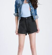 Women Solid Black Color New Fashion Button Closure Causal Wear Shorts