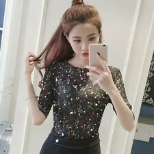 Women New Arrive Summer Chiffon Fabric Beading Casual Blouse