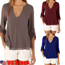 US Women Lady V-Neck Long Sleeve Chiffon T Shirt Casual Loose Tops Button Blouse