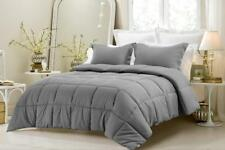 Oversize 3 Pc Reversible Solid/Striped Comforter Set Grey Twin Full Queen King