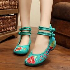 Women Round Toe Floral Embroidery Cotton Fabric Casual Flat Shoes