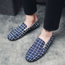 New Men's Checks Stripes Driving Loafers Slip On Breathable Canvas Casual Shoes