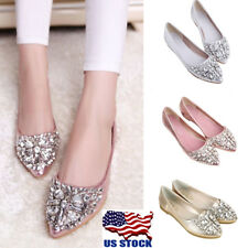 US Womens Rhinestones Slip on Pointed Toe Comfort Loafers Flats Shoes Size 4.5-8