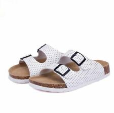 White Color Printed Slip on Slides Double Buckle Flat Plus Size Sandal For Women