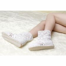 Women White Color Spring and Summer High-leg Hollow Ankle Flat Knitted Boots