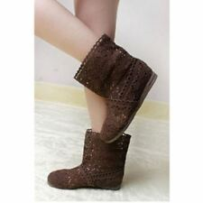 Women Brown Color Spring and Summer High-leg Hollow Ankle Flat Knitted Boots