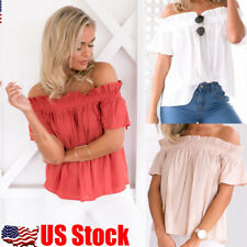 Women Off Shoulder Tops Short Sleeve Shirt Ladies Casual Blouse Loose T-shirt US
