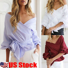 Womens V Neck Off Shoulder Top Shirts Long Sleeve Casual T-shirt Blouse Tops USA