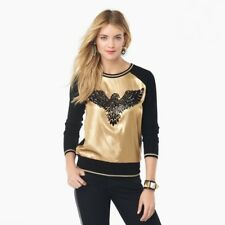 JUICY COUTURE Black Wool Hammered Gold Silk Eagle Embellished Pullover Sweater