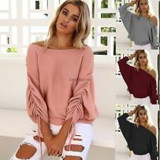 Women Off Shoulder Elastic Ruched Batwing Long Sleeve Solid Knitted LB6Y