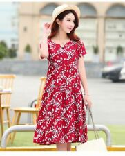 Women Summer Wear Printed V-Neck Short Sleeve Knee-length Dress Plus Size