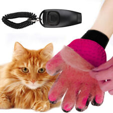 Pet Grooming Gloves Dog Cat Glove Massage Magic Hair Remover w/ Whistle Clicker