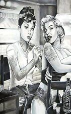 marilyn monroe and audrey hepburn tattoo Large Canvas Print 30x20 inch