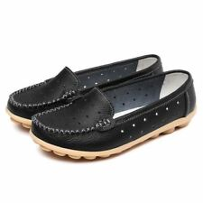 Women Fashion Wear Round Toe Shaped Pu Leather Slip On Flat Shoes