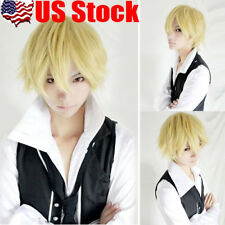 30cm Mens Boys Short Light Yellow Blonde Anime Cosplay Cos Party Hair Wig USA