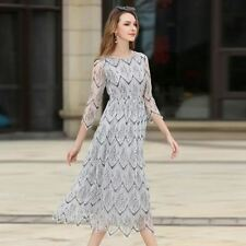 Elegant Printed O-neck Long Sleeve Lace Midi Casual Dress For Women