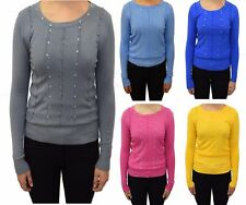 Womens Knitted Long Sleeve Diamante Ruffle Long Sleeve Jumper Pullover Top-168