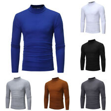 Men's Long Sleeve T-shirt Plain High Neck Shirt Casual Tops Blouse Clothes