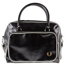 New Mens Fred Perry Black Classic Pvc Holdall Shoulder Bag