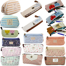 Cute Vintage Canvas Pen Pencil Case Coin Purse Zipper Pouch Cosmetic Makeup Bag