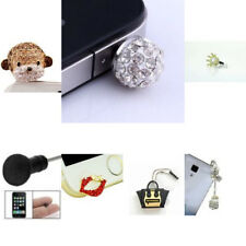 Silicon Rhinestone Diamond Ear Phone Plugs Anti-Dust Stoppers For iPhone & iPad