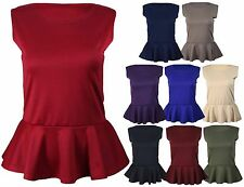 New Ladies Sleeveless Flared Plus Size Vest Tops Womens Peplum Fitted Top 16-24