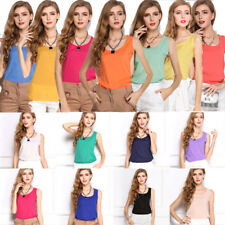 Summer Women Ladies Chiffon Sleeveless Tank Crop Vest T Shirt Blouse Tops