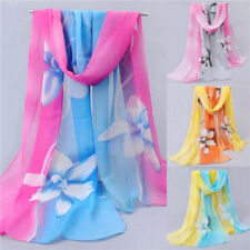 Women Girls Chiffon FLoral Long Soft Neck Scarf Shawl Scarves Stole Wraps W134R