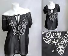 Embroidered Blouse Beaded Top S M L Women Shirt New Black Peasant Boho Tunic NWT