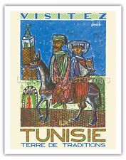 Visit Tunisia (Tunisie) - Land of Traditions Vintage Travel Poster Print Giclée