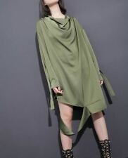 Women Black White And Green Color Long Sleeve Plus Size Loose Dress