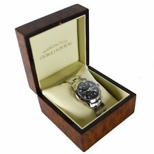 GEORGE J VON BURG Mens Watch Automatic Leather Swiss Leather Black (Signed Box)