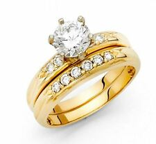 14K Solid Yellow Gold 1.5 ct Round Cut Diamond Solitaire Engagement Ring Only