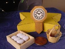 LOT OF 3 MINIATURES EGGS in wooden box wood WALL CLOCK tiny wicker basket USA