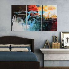 """ARTLAND Modern 100% Hand Painted Framed Abstract Oil Painting """"Abstract Red T..."""