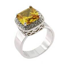 Cushion Cut Yellow Cubic Zirconia Sterling Silver Wedding Engagement Ring