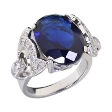 16.4Ctw Oval Cut Sapphire Simulated Sterling Silver Bridal Right Hand Ring