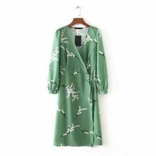 Women Fashion Collection V Neck Green Color Long Sleeve Vintage Style Dress