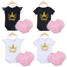 Unicorn Baby Girls Cake Smash Outfit 1st Birthday Romper Pants Headband Clothes
