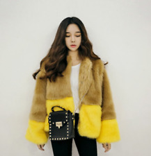 Winter Womens Fur Clothing Short Multi-Color Cardigan Jacket Coat Elegant Sweet