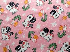 Sewing Fabric Patchwork Quilting PUPPY DOGS AND TULIPS 50x44cm FQ